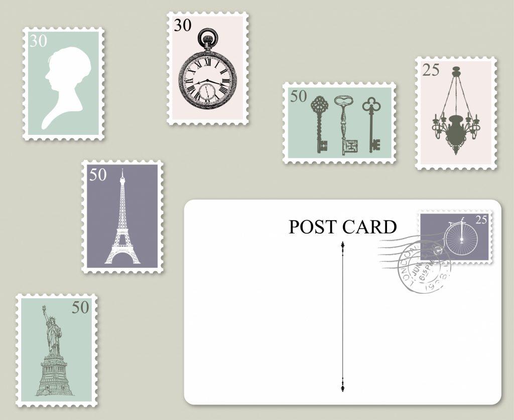 postage-stamps-postcard-set